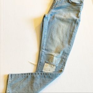 J Brand Midrise Crop Drop Out Jeans